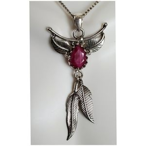 Jewelry - Eagle Feathers Natural Ruby Pendant/Necklace